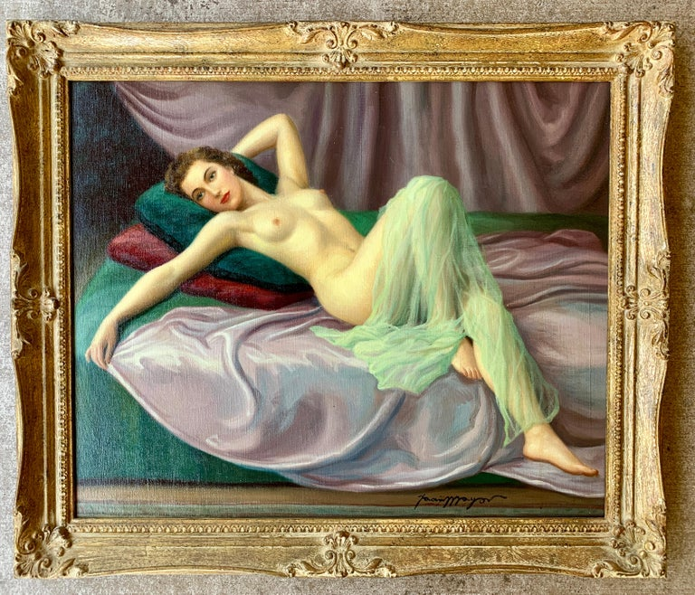 20th Century Sensual Original French Painting 1940s Reclining Nude Pin-Up Girl by Joan Mayor For Sale