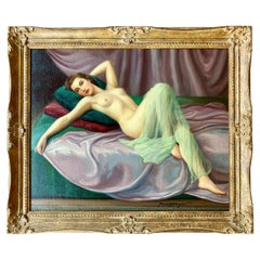 Sensual Original French Painting 1940s Reclining Nude Pin-Up Girl by Joan Mayor