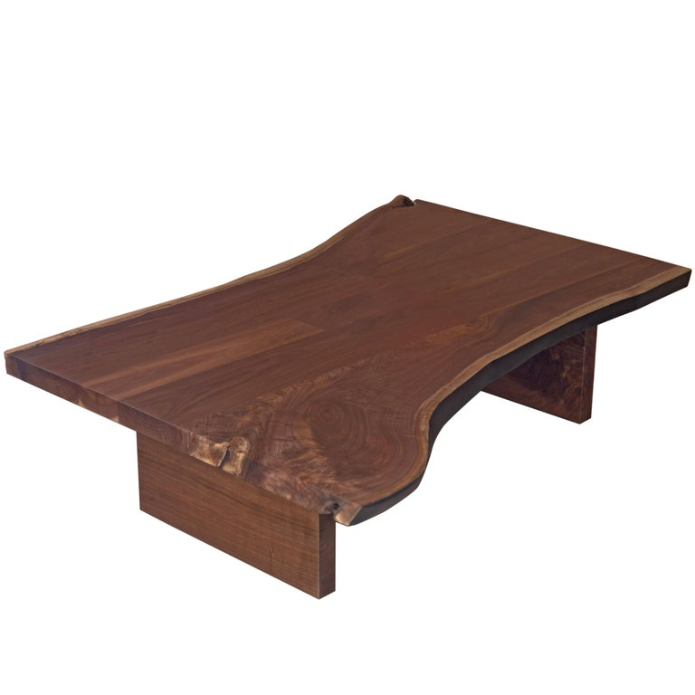 Vintage Industrial Live Edge Walnut Slab Coffee Table: Sentient Signature Black Walnut Live Edge Slab Coffee