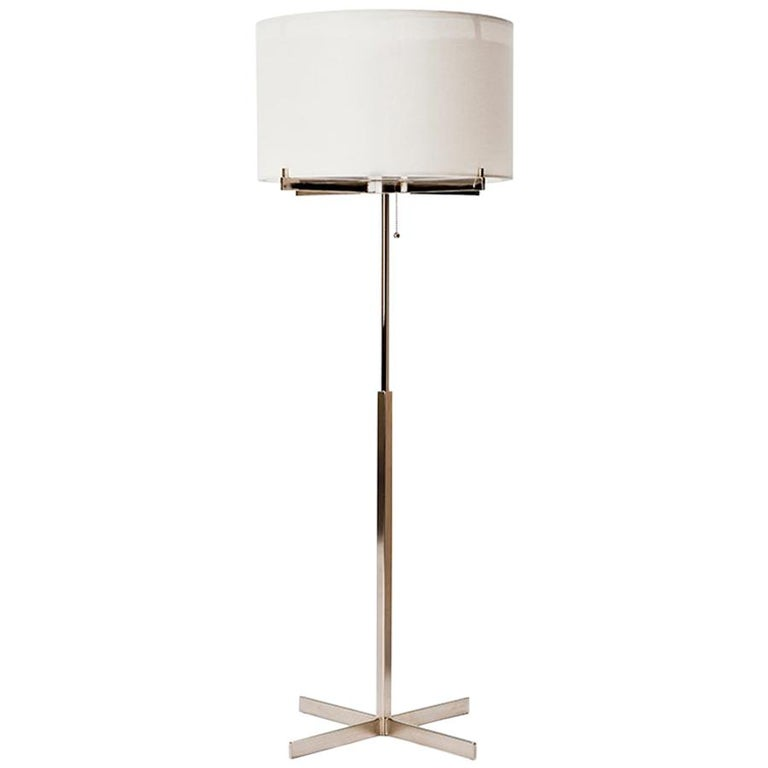 Sentinel Table Lamp with White Linen Shade by Powell & Bonnell For Sale