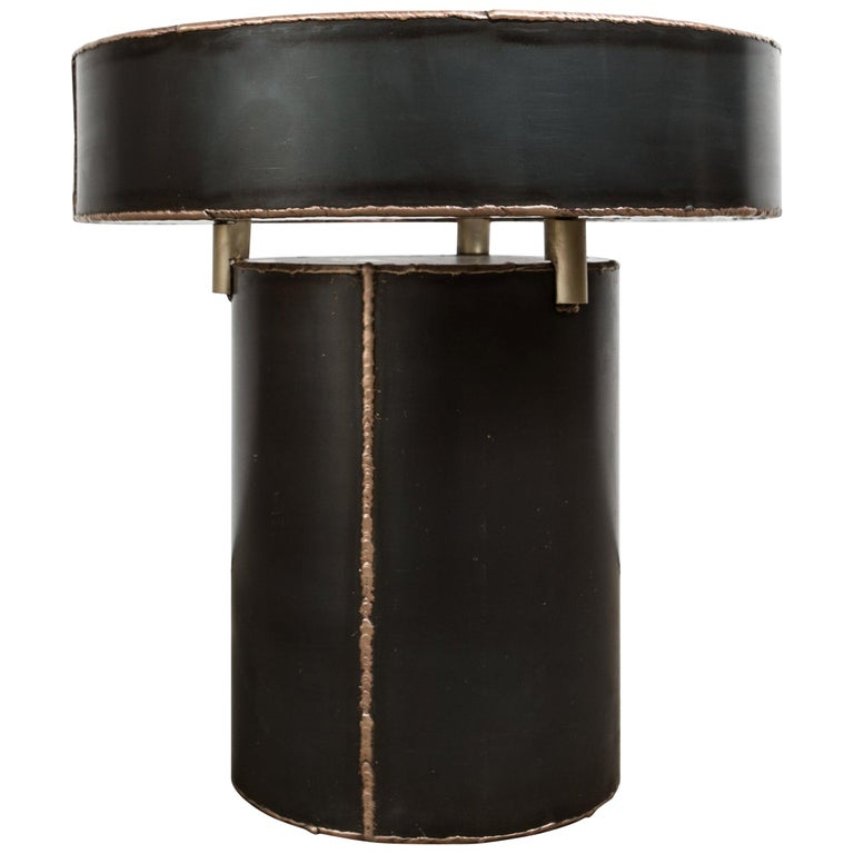 Sentric Side Table in Raw Black Steel and Bronze Seam, by Mtharu For Sale