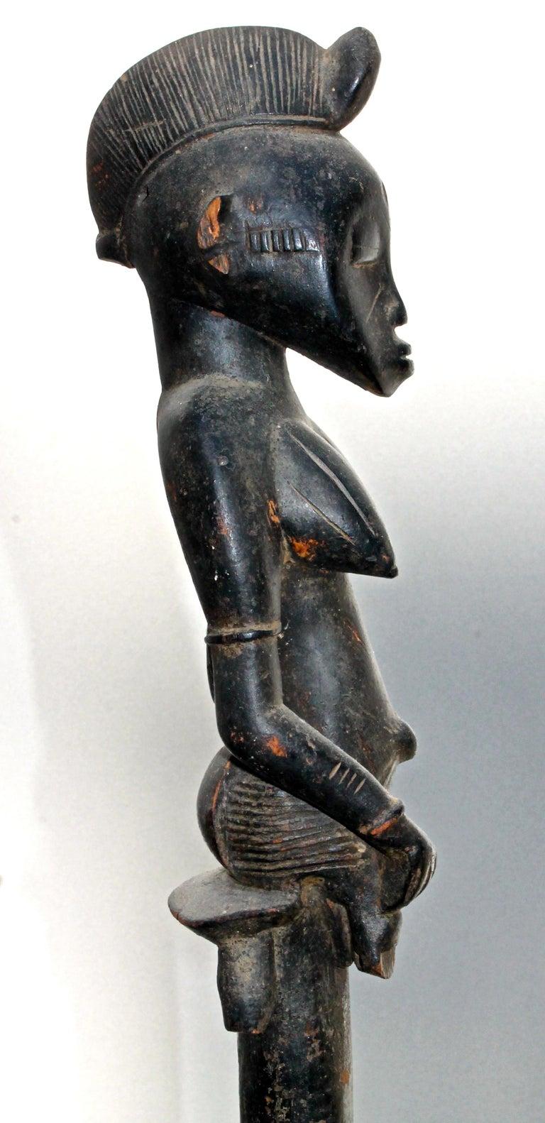 Carved Senufo Staff Sotheby's Provenance For Sale