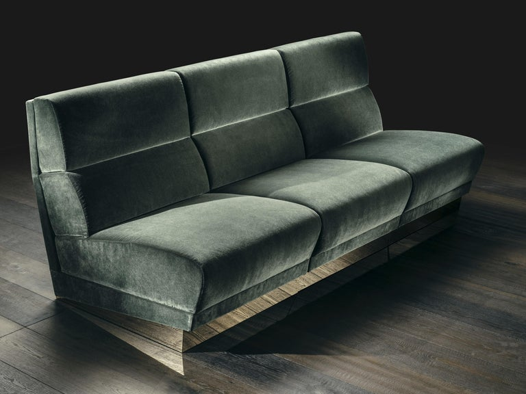 Senza Fine 3 Seat Modular Sofa In Green Velvet And