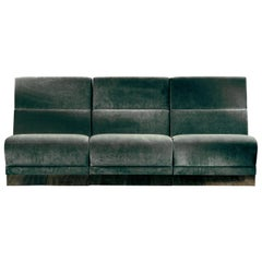 Senza Fine 3-Seat Modular Sofa in Green Velvet and Polished Brass