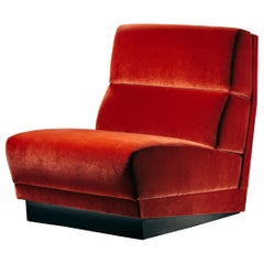 Senza Fine Armchair in Coral Velvet and Black Wood
