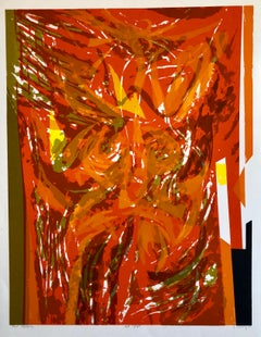 """Chinese American Modernist Abstract """"Red Tapestry"""" Color Lithograph"""
