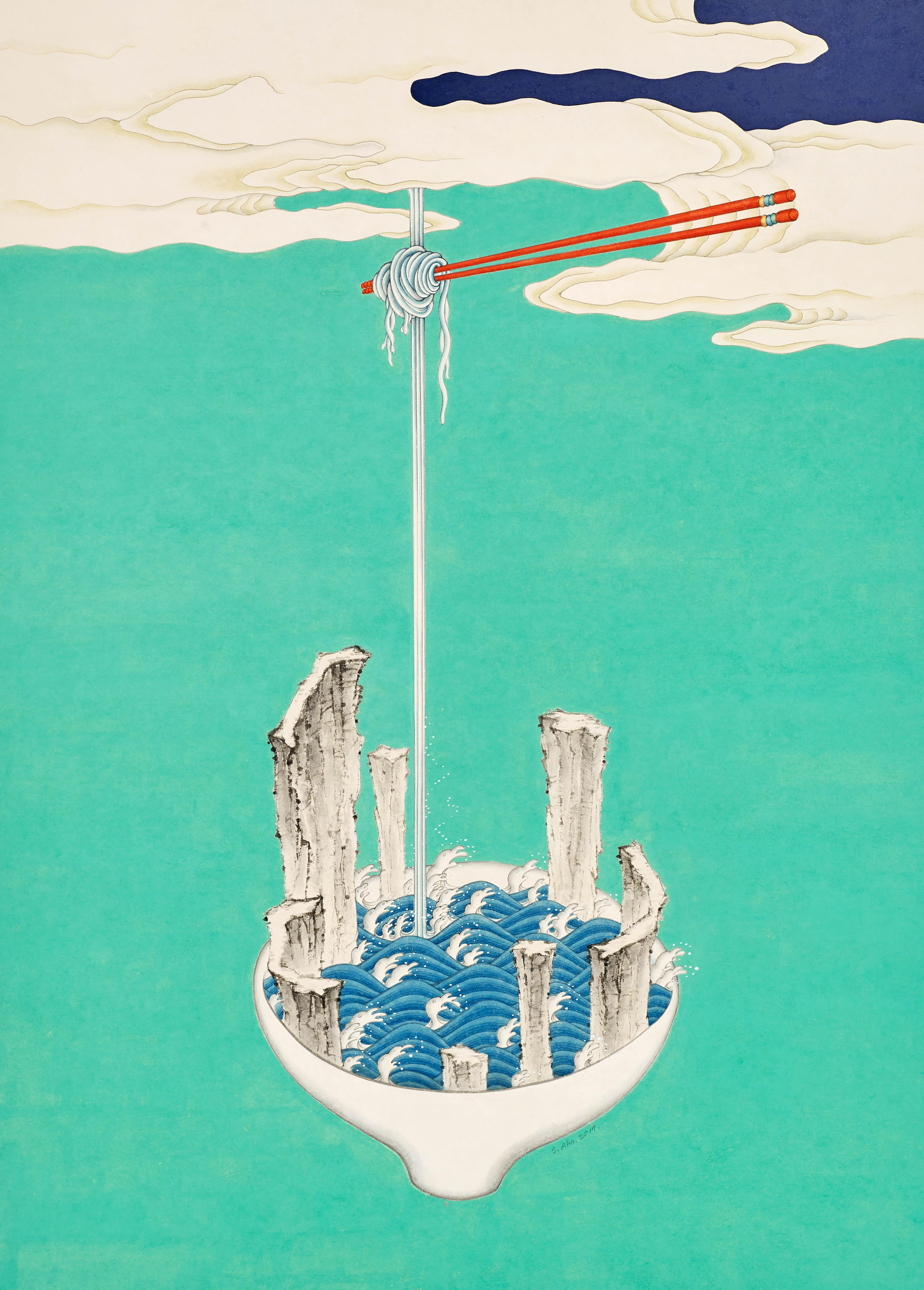 Aphrodisiac 09, surreal painting of a bowl of noodles and chopsticks, teal