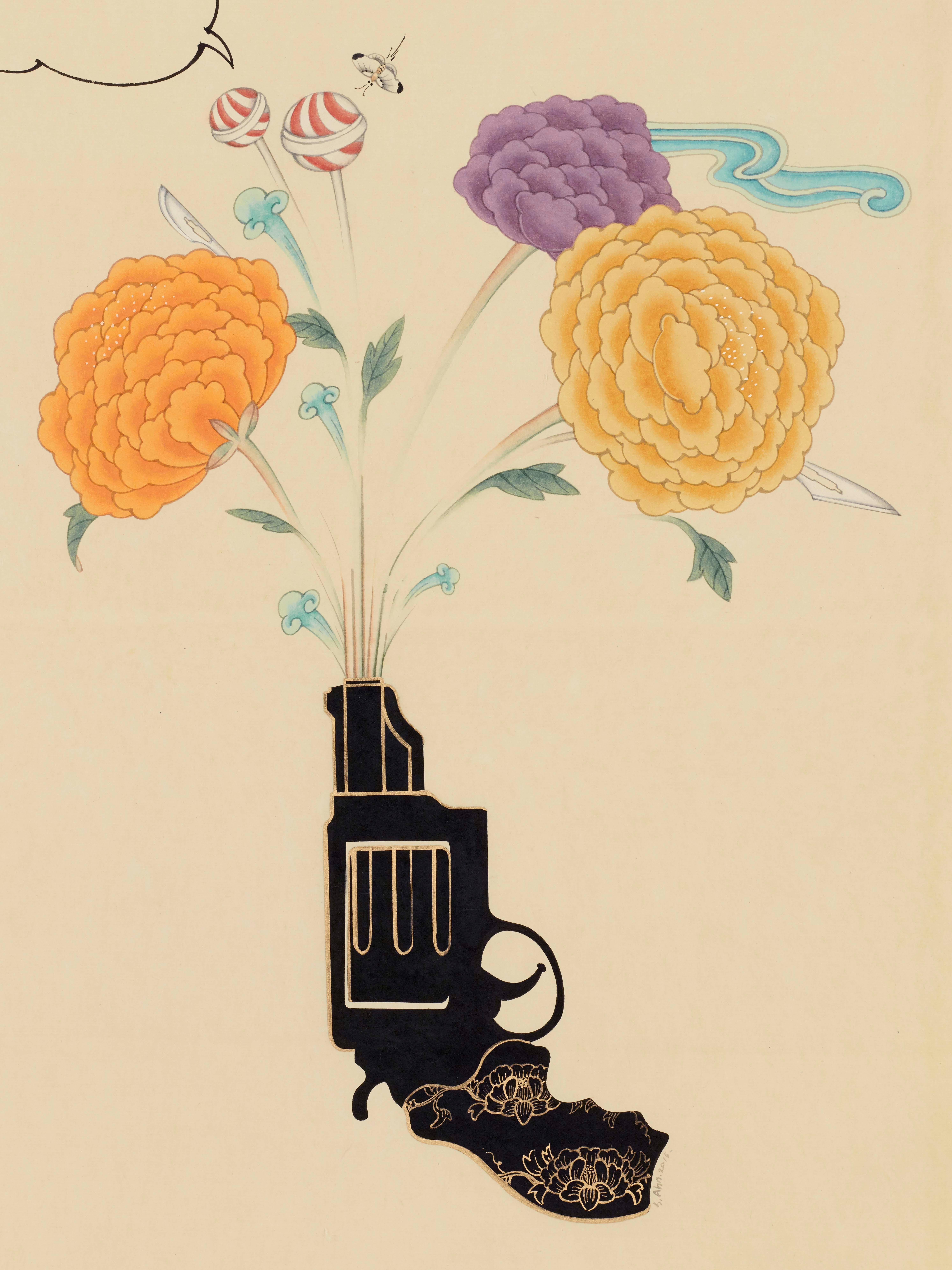 Inter-Relation Selfie 204, representational work on paper, gun with flowers