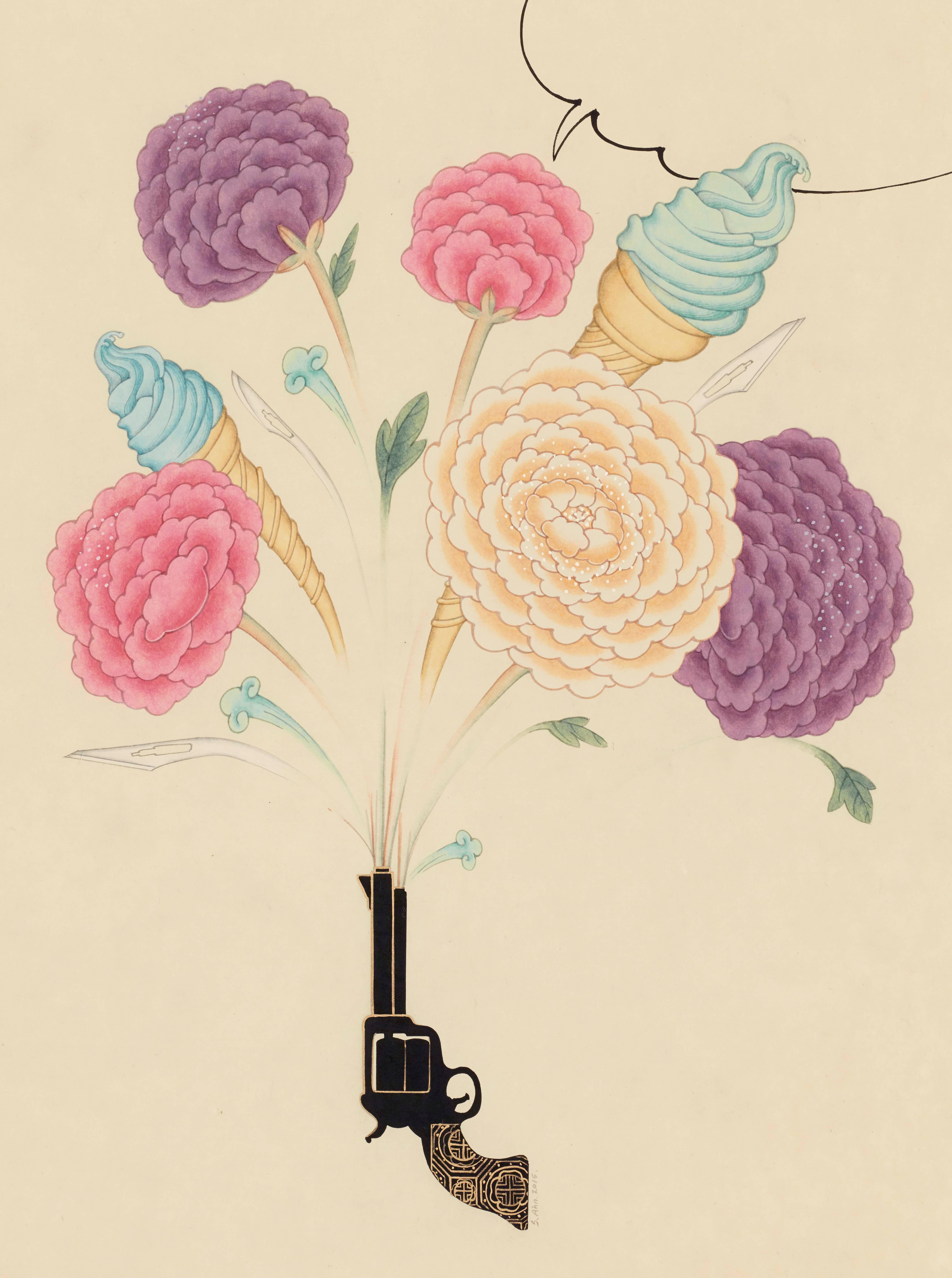 Inter-Relation Selfie 207, representational work on paper, gun with flowers