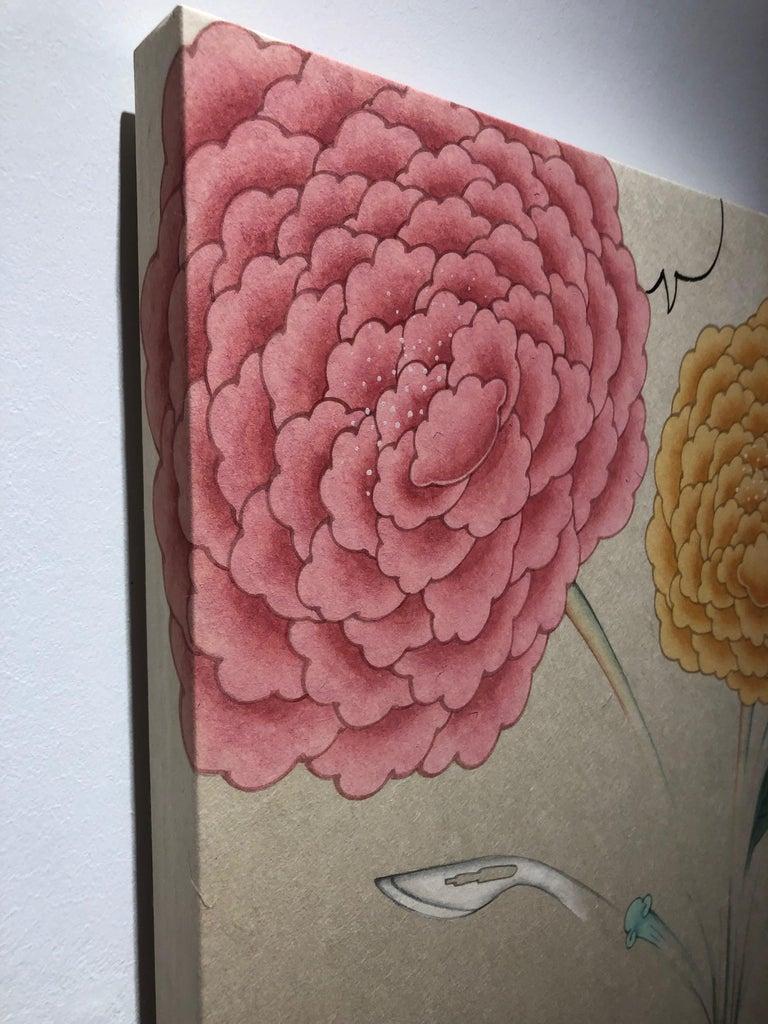 Inter-Relation Selfie 208, representational work on paper, gun with flowers - Beige Still-Life Painting by Seongmin Ahn