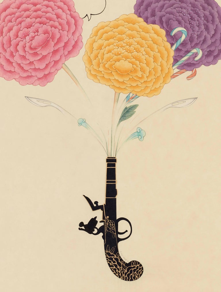 Seongmin Ahn Still-Life Painting - Inter-Relation Selfie 208, representational work on paper, gun with flowers