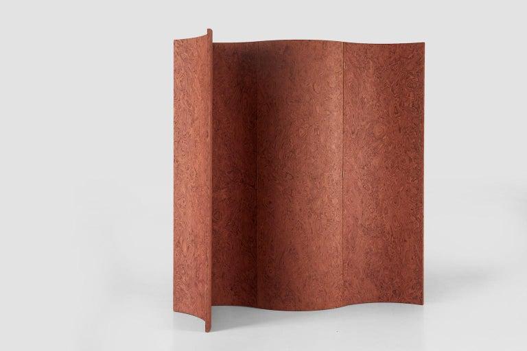 Modern Folding Screen 'Separe' Room Divider in Terracotta Elm burl Veneer For Sale