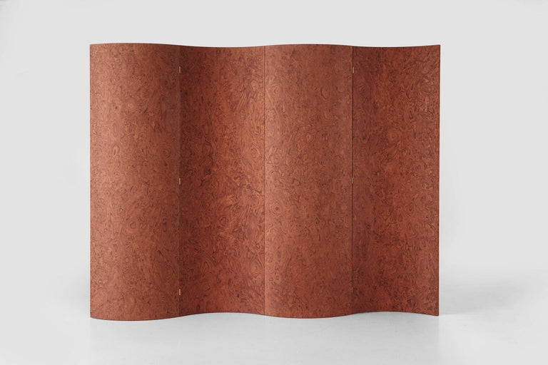 Italian Folding Screen 'Separe' Room Divider in Terracotta Elm burl Veneer For Sale