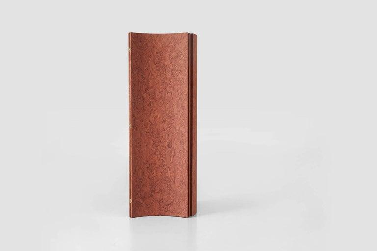 Laminated Folding Screen 'Separe' Room Divider in Terracotta Elm burl Veneer For Sale