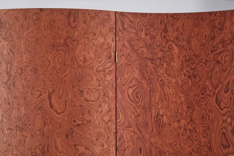 Folding Screen 'Separe' Room Divider in Terracotta Elm burl Veneer In New Condition For Sale In San Pietro di Morubio, Verona