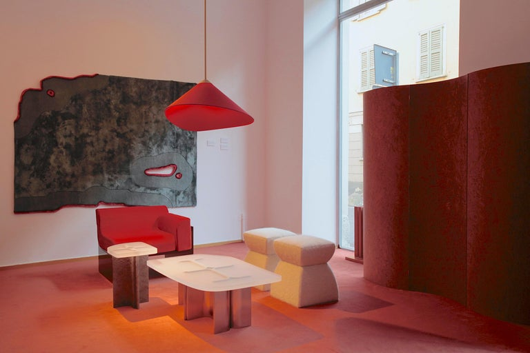 Contemporary Folding Screen 'Separe' Room Divider in Terracotta Elm burl Veneer For Sale