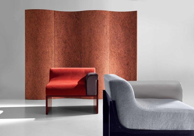 Wood Folding Screen 'Separe' Room Divider in Terracotta Elm burl Veneer For Sale