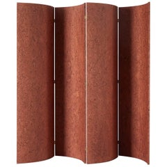 Folding Screen 'Separe' Room Divider in Terracotta Elm burl Veneer