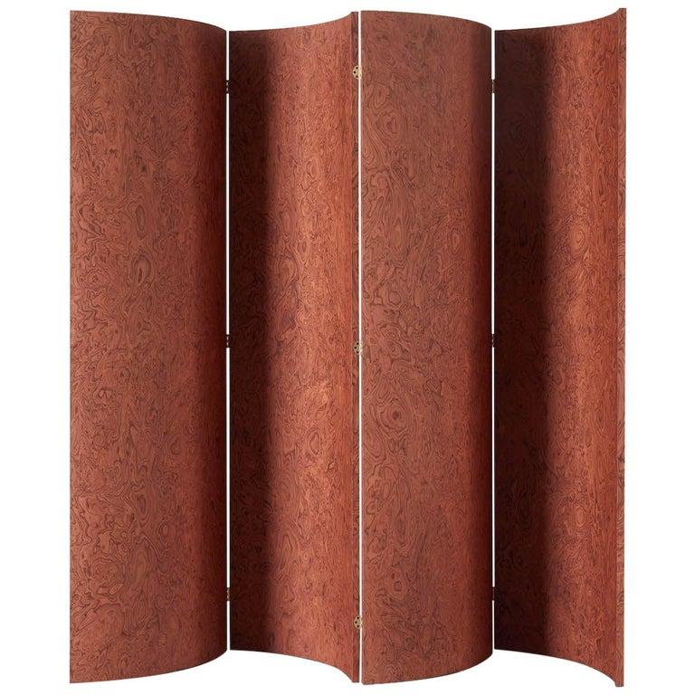 Folding Screen 'Separe' Room Divider in Terracotta Elm burl Veneer For Sale