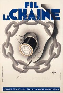 """Fil La Chaine"" French Art Deco 1930 Sewing Original Vintage Poster"