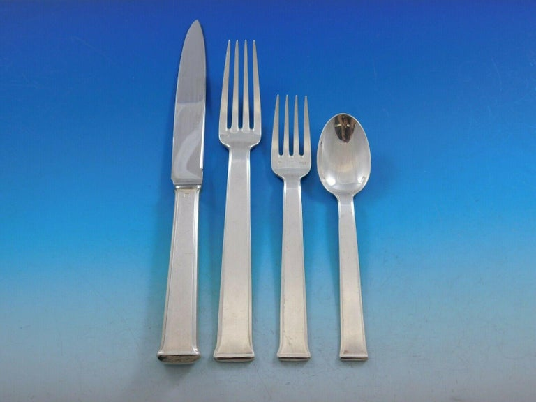 Sequoia by Ercuis Silver Plate Flatware Set Service Dinner, French, 22 Pieces In Excellent Condition For Sale In Big Bend, WI