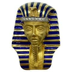 Serafini Large King Tutankhamen Egyptian Revival Statement Brooch
