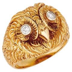 Serafini Owl Shaped Diamond Ring in Yellow Gold