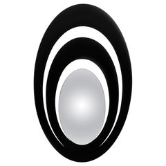 Serail Oval Mirror in Black Lacquered Finish