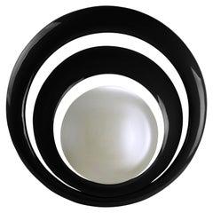 Serail Round Mirror in Black Lacquered Finish