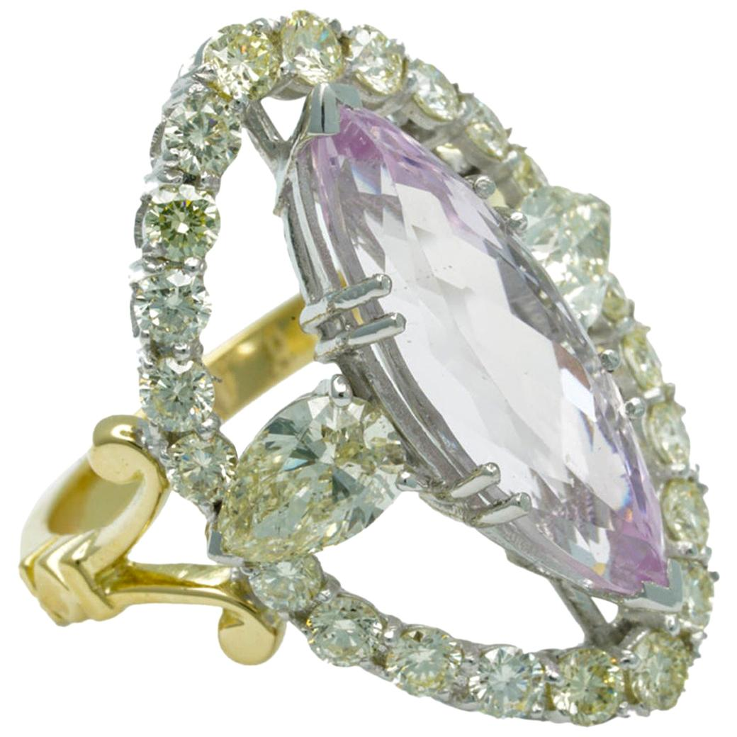 Seraphic Glory Ring in 18kt Yellow and White Gold with Morganite and Diamonds