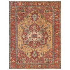 Serapi Heriz Persian Hand Knotted Antique Traditional Wool Rug