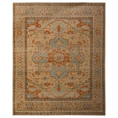 Serapi Style Rug Beige and Red Medallion Serapi Pattern by Rug & Kilim