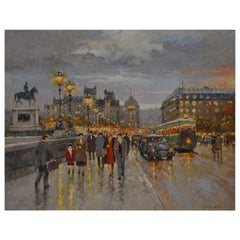 Serbian Artist Milan Miletic Pont Neuf Paris Oil on Canvas Dated 2008
