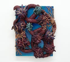 Boa - thick sculptural painting with vine and flowers in blue and burgundy