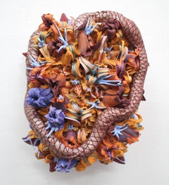 Botanical Abstract Sculptural Painting with Snake by Seren Morey - Coeur