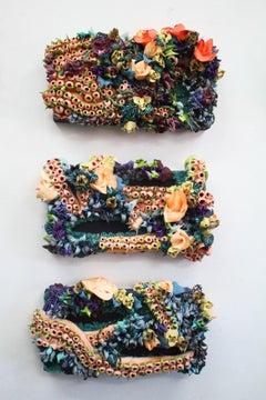 Floral dimensional ocean seascape triptych by Seren Morey -Serpentine Dreams