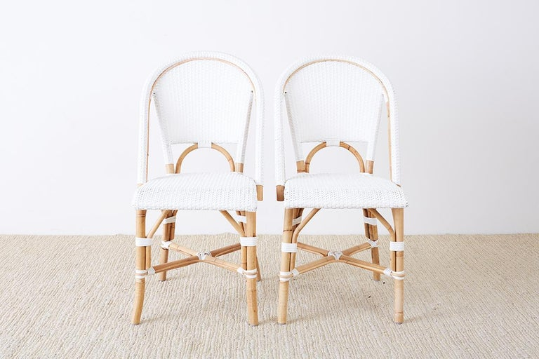 Hand-Crafted Serena and Lily Bamboo Riviera Rattan French Bistro Chairs For Sale