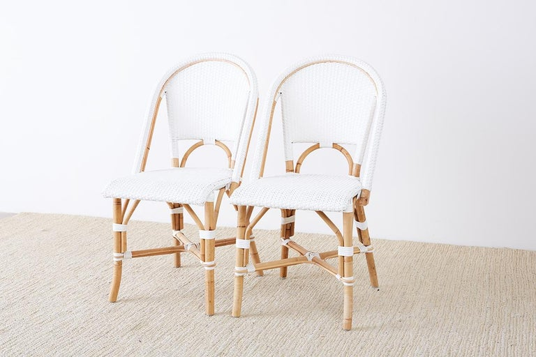 Contemporary Serena and Lily Bamboo Riviera Rattan French Bistro Chairs For Sale