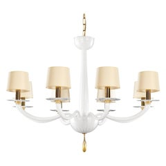 21st Century Chandelier 8Lights White Murano Glass, Golden Details by Multiforme
