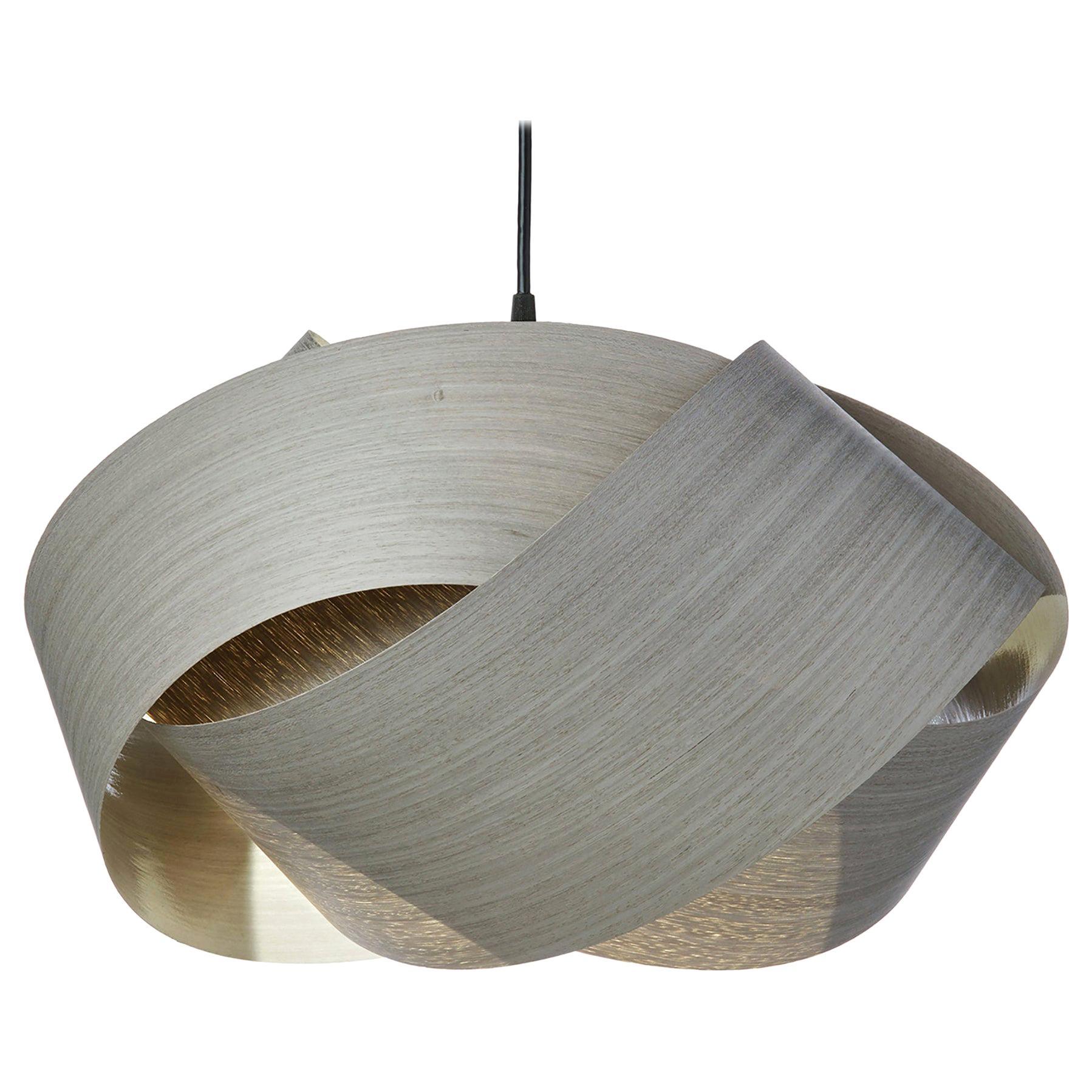 Mid-century Modern gray wood veneer pendant