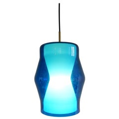 Serene Blue and White Glass Pendant Lamp, Rare Design from the 1960s