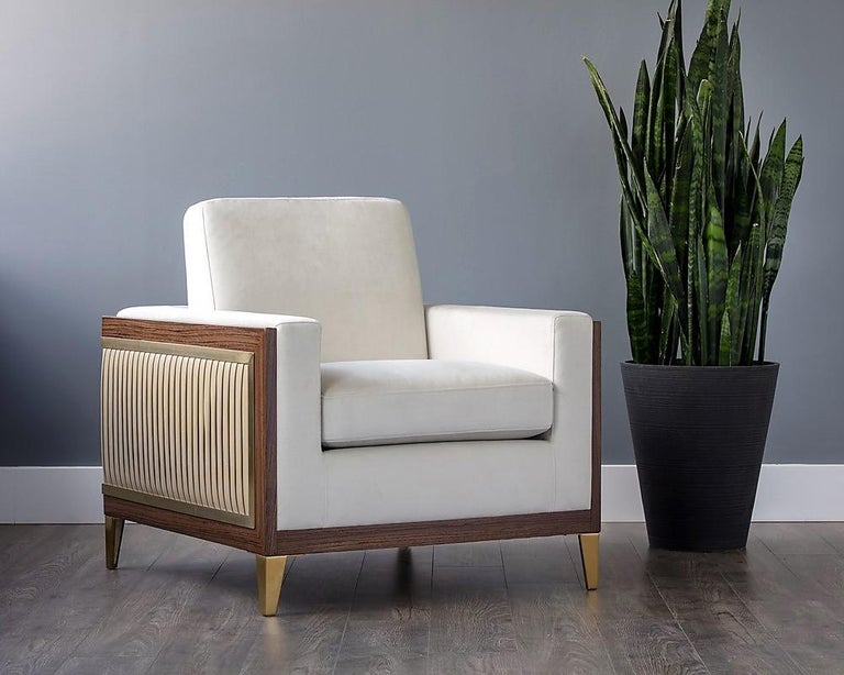 Modern Serene, Contemporary Pleated Club Chair with Gold Detailing For Sale