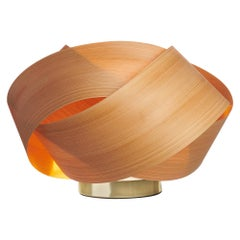 Serene Cypress Wood Accent Light with Brushed Brass Stand