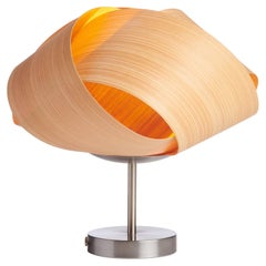 Serene Cypress Wood Accent Light with Brushed Satin Nickel Stand