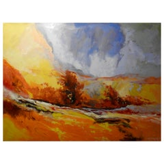 """""""Serene"""" Marigold Brush Field, Expressionist Oil Painting"""