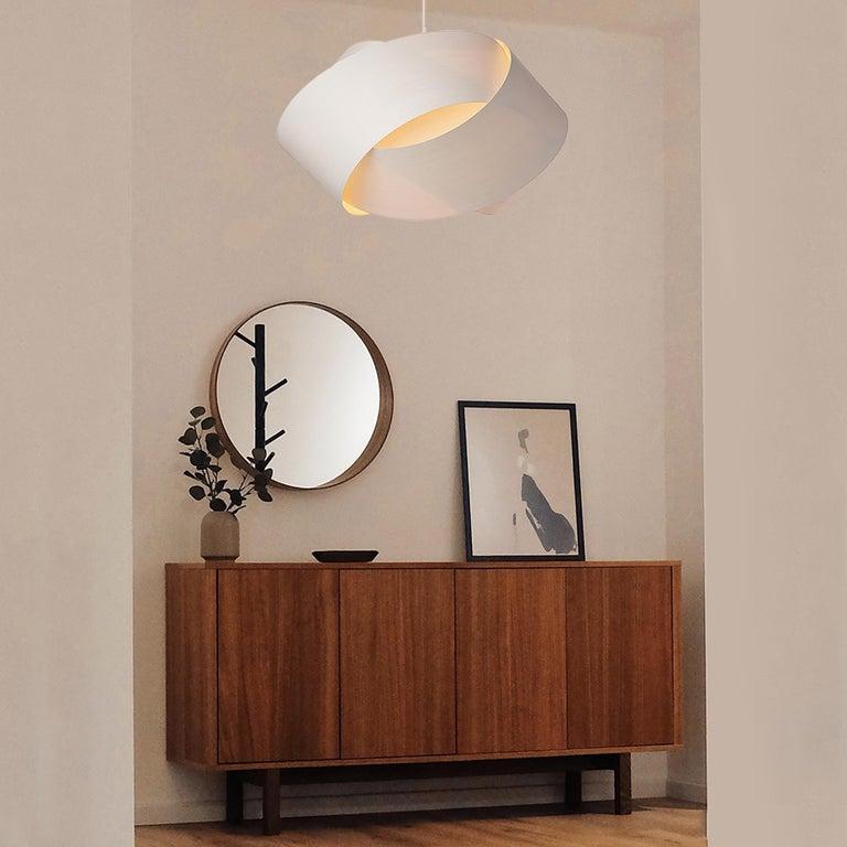 Organic Modern Mid-Century Modern White Wood Chandelier Pendant For Sale
