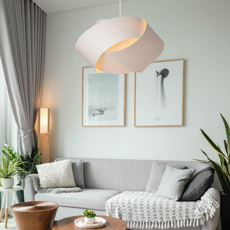 Frosted Mid-Century Modern White Wood Chandelier Pendant For Sale