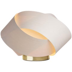 Serene White Wood Accent Light with Brushed Brass Stand