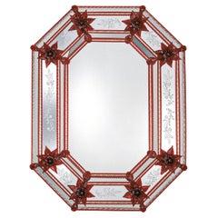 Serenella Red Flowers Murano Glass Mirror