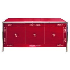 """""""Serenissima"""" Murano Glass Red Sideboard, Hand Made, Fratelli Tosi Made in Italy"""